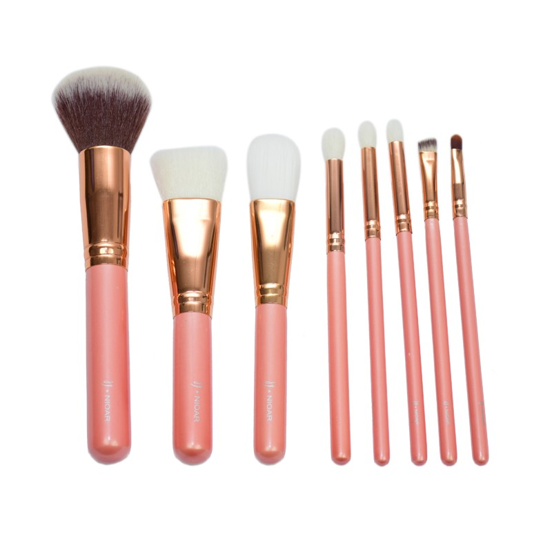 8 Piece Peach Brush Set
